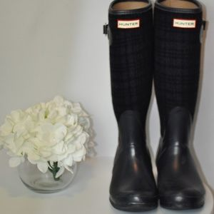 Hunter Rain Boots Arlen - Navy / Wool Plaid - 7